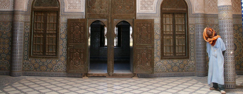 חצר מדרסה בעיר פס במרוקו