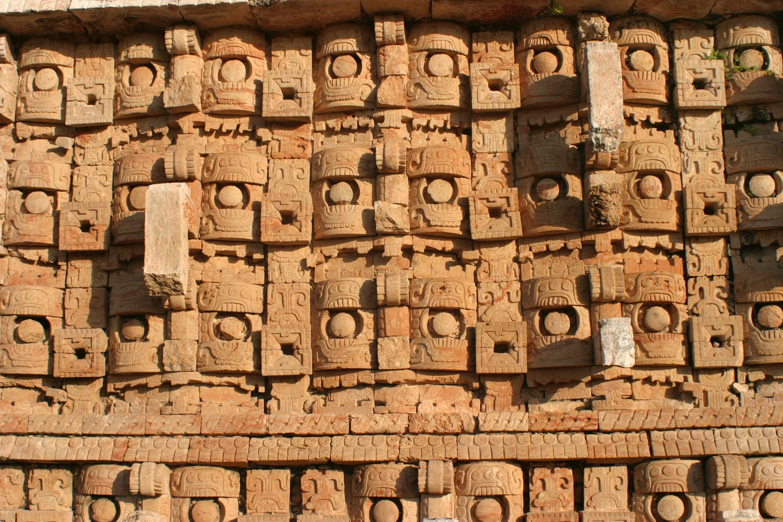 תבליט קיר במקדש מאיה במדינת יוקטאן, מקסיקו
