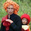 אשה ותינוק משבט פא-או, קלאו, מדינת שאן, מיאנמר.