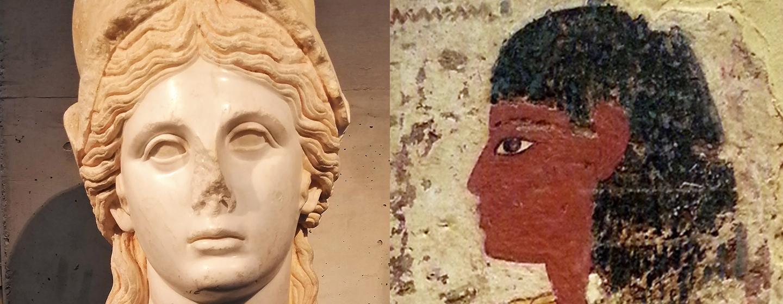 מימין: ציור קבר ממצרים העתיקה   משמאל: פסל ראש של אתנה