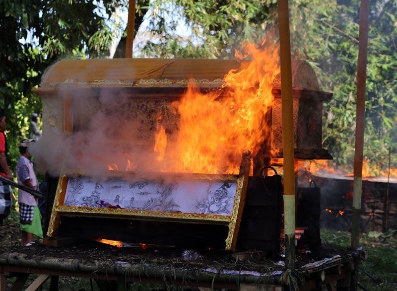 גופת המת נשרפת בתוך סרקופג. טקס שריפת מתים, באלי, אינדונזיה. צילום: ניסו קדם
