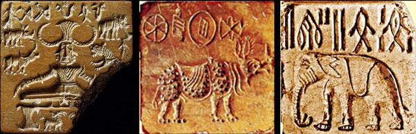 חותמות מעשה ידי תושבי עמק האינדוס. החותמת השמאלית מזכירה את דמותו של האל שיווה