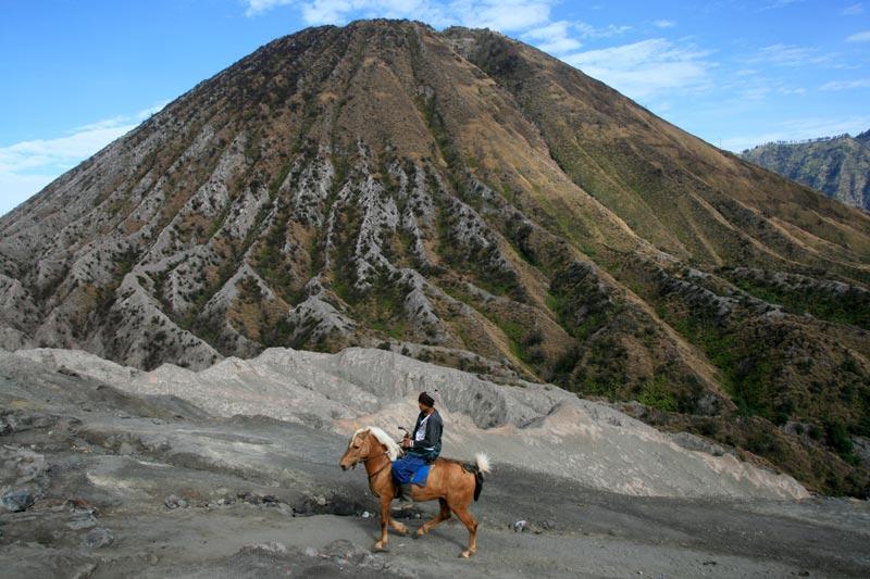 איש טנגאר עם סוסו על רקע לוע קדום כבוי של הר ברומו. מזרח ג'אווה, אינדונזיה. צילום: ניסו קדם