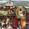 מוראל בארמון הנשיא שצייר דייגו ריברה, המתאר את השוק בטנושטיטלן, טרם הכיבוש הספרדי, מקסיקו סיטי, מקסיקו